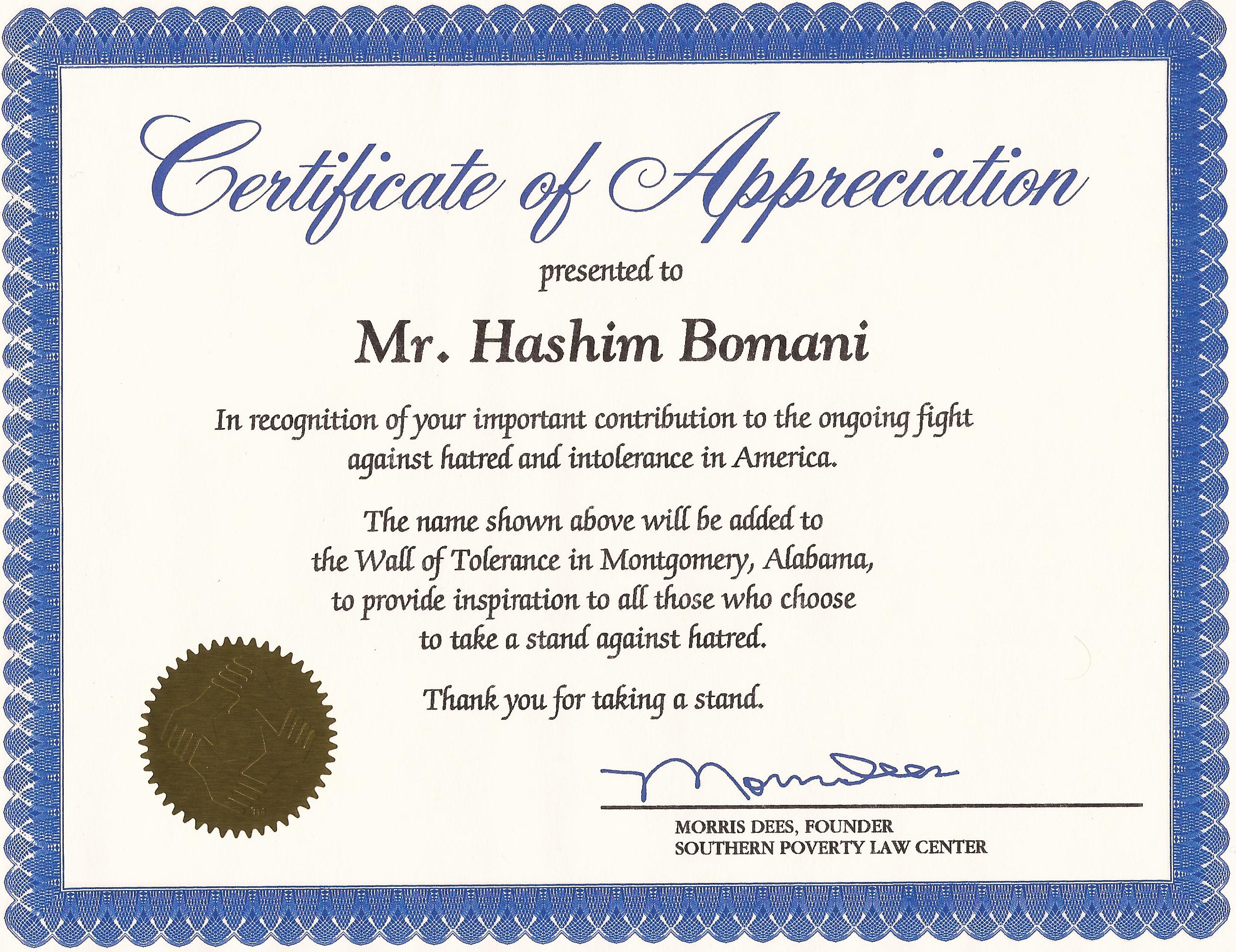 sample of certificate of appreciation for employee