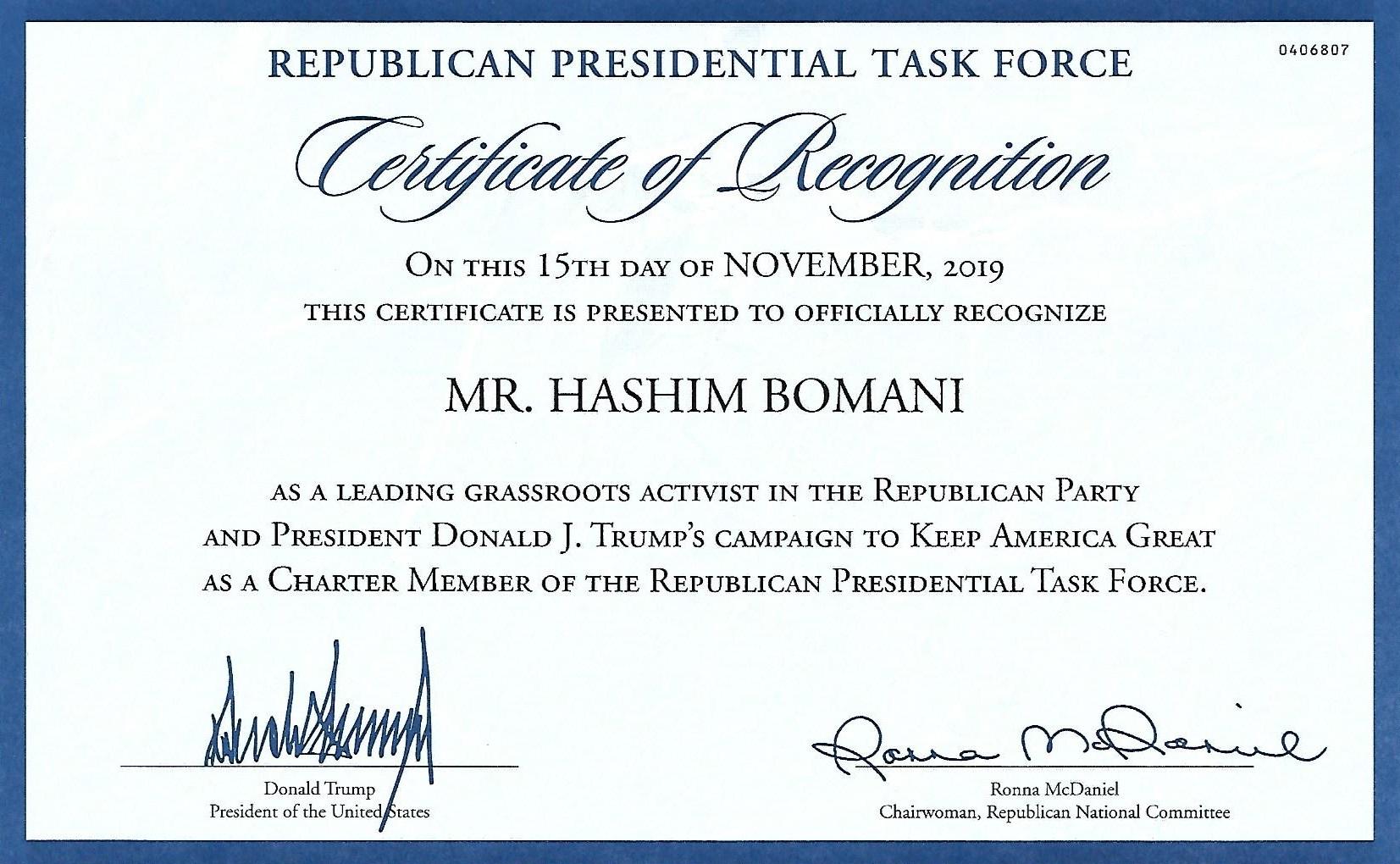 REPUBLICAN TASK FORCE AWARD