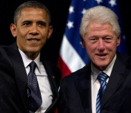 President Obama and former President Bill Clinton appear at a campaign event in New York in June
