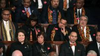 WASHINGTON, DC - JANUARY 30: Members of Congress wear black clothing and Kente cloth in protest before the State of the Union address in the chamber of the U.S. House of Representatives January 30, 2018 in Washington, DC. This is the first State of the Union address given by U.S. President Donald Trump and his second joint-session address to Congress. (Photo by Alex Wong/Getty Images)