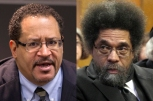 Princeton University professor and civil rights activist Cornel West, right, and Rev. Stephen H. Phelps, of New York's Riverside Church, appear in crimainal court in New York, Monday, April 30, 2012. West and nearly two dozen demonstrators arrested last year while protesting the New York Police Department's stop-and-frisk policy have gone on trial. (AP Photo/Richard Drew, Pool)
