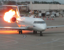 DELTA AIRPLANE ON FIRE