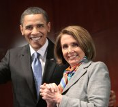 President Barack Obama left, with Speaker of the House Nancy Pelosi, D-Ca., right, during his visit to Capitol Hill to meet with House Democrats, in Washington, Saturday, March 20, 2010. (AP Photo/Pablo Martinez Monsivais)