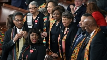 WASHINGTON, DC - JANUARY 30: Members of Congress wear black clothing and Kente cloth in protest before the State of the Union address in the chamber of the U.S. House of Representatives January 30, 2018 in Washington, DC. This is the first State of the Union address given by U.S. President Donald Trump and his second joint-session address to Congress. (Photo by Mark Wilson/Getty Images)