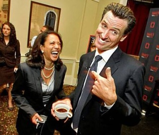 Newsom in spotlight as a 'hotshot to watch' Mayor Gavin Newsom and Kamala Harris laugh as they meet other up-and-coming young political people at a Time magazine breakfast as part of the Democratic National Convention, Tuesday, in Denver, Colorado. (Lacy Atkins / The Chronicle)